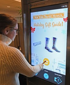 Demonstration of New York Transit Museum Holiday Gift Guide on an OTG kiosk on Tue., November 22, 2016. Photo: Marc A. Hermann / MTA New York City Transit